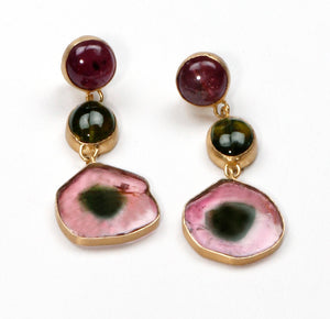PE-332A Earrings:  Watermelon tourmaline drops, 18k posts