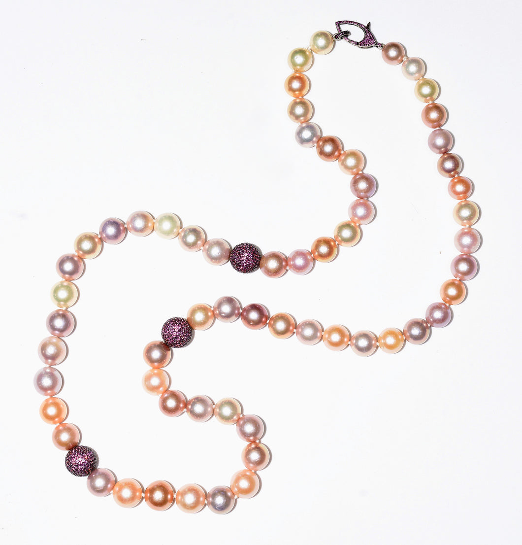 Metallic Edison pearls, naturally colored with pave' pink sapphire beads