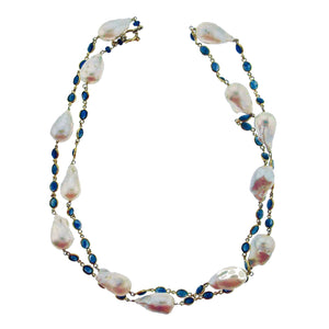 Long blue sapphire and baroque pearl necklace in 18k gold