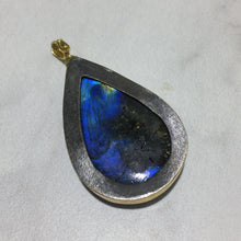 Load image into Gallery viewer, PP-343B Enhancer:  Labradorite with .12 ctw diamonds, 18k gold.
