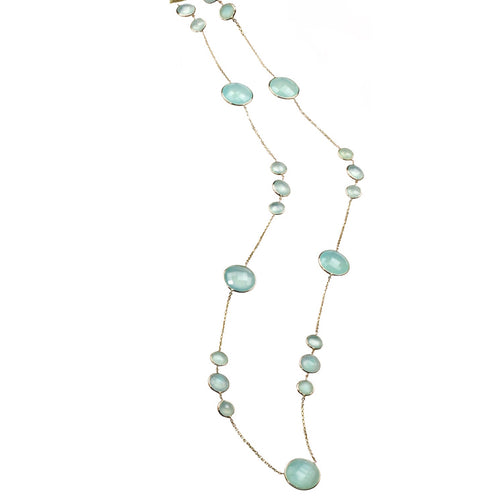 "36"" 18k gold chain, bezel-set chalcedony"