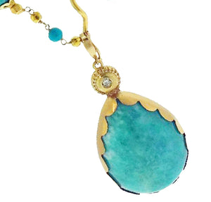 Amazonite pendant / enhancer with diamond, 18k gold