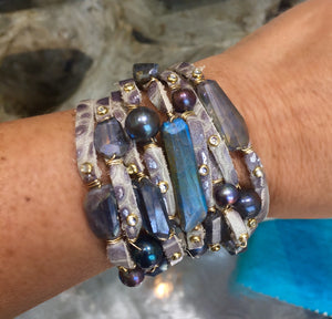 FLB-012 Bracelet:  Multi-strand leather cuff with labradorite and Tahitian pearls
