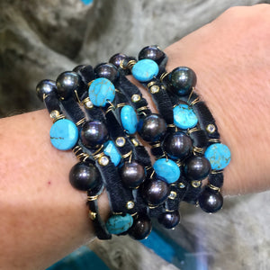 FLB-012 Bracelet: Multi-strand leather cuff with Tahitian and FW pearls, turquoise