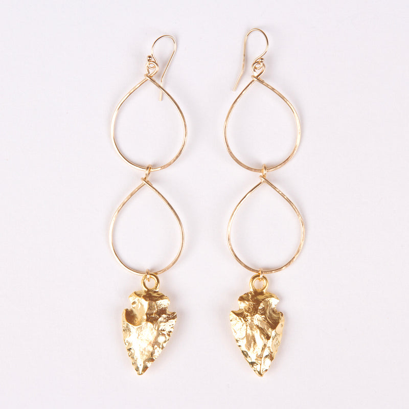 Double Teardrop Arrowhead Earrings