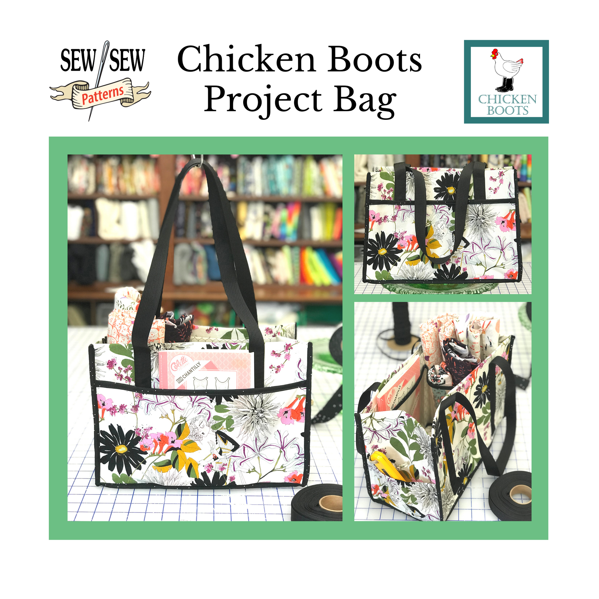 Chicken Boots Project Bag by Sew Sew Patterns
