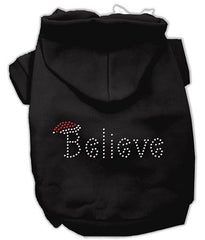Believe Christmas Hoodie for Dogs Black-Extra Large