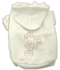 Candy Cane Dog Hoodie Cream-Extra Large