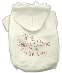 Candy Cane Princess Dog Hoodie Cream-Large