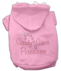 Candy Cane Princess Dog Hoodie Pink-Extra Large