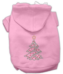 Christmas Tree Dog Hoodie Pink-Extra Large