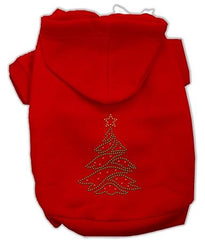 Christmas Tree Dog Hoodie Red-Extra Small