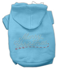 Merry Christmas Rhinestone Dog Hoodie Baby Blue-Medium