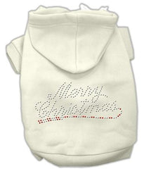 Merry Christmas Rhinestone Dog Hoodie Cream-Extra Large