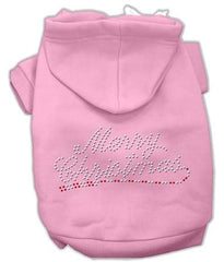 Merry Christmas Rhinestone Dog Hoodie Pink-Extra Large