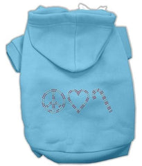 Peace, Love and Candy Canes Dog Hoodie Baby Blue-Small