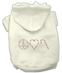 Peace, Love and Candy Canes Dog Hoodie Cream-Extra Large