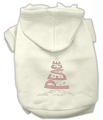 Peace Tree Rhinestone Dog Hoodie Cream-Extra Large