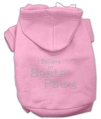 I Believe in Santa Paws Dog Hoodie Pink-Small