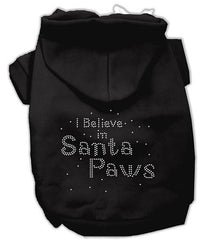 I Believe in Santa Paws Dog Hoodie Black-Extra Large