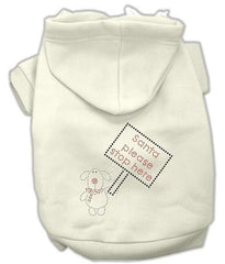 Santa Stop Here Dog Hoodie Cream-Small
