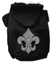 Holiday Fleur de lis Dog Hoodie Black-XX Large