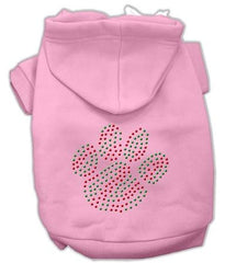 Holiday Paw Dog Hoodie Pink-Medium