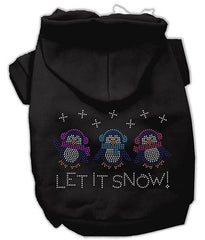 Let it Snow Penguins Rhinestone Dog Hoodie Black-Extra Small