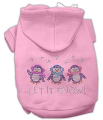 Let it Snow Penguins Rhinestone Dog Hoodie Pink-Extra Small