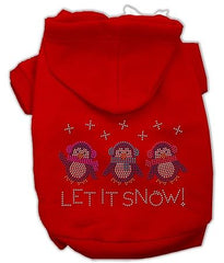 Let it Snow Penguins Rhinestone Dog Hoodie Red-Extra Small