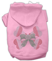 Candy Cane Crossbones Rhinestone Dog Hoodie Pink-Medium