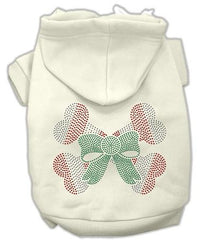 Candy Cane Crossbones Rhinestone Dog Hoodie Cream-XX Large