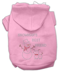 Snowman's Best Friend Rhinestone Dog Hoodie Pink-Small