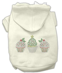 Christmas Cupcakes Rhinestone Dog Hoodie Cream-Large