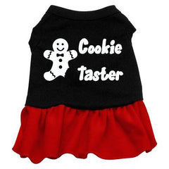 Cookie Taster Dog Dress - Black with Red-Large