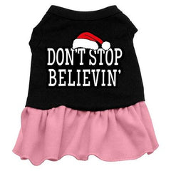 Don't Stop Believin' Dog Dress - Black with Pink-Large