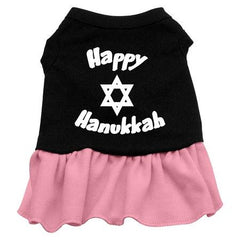 Happy Hanukkah Dog Dress - Black with Pink-Small
