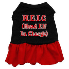 Head Elf in Charge Dog Dress - Black with Red-Medium