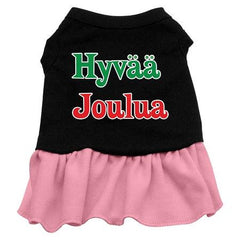 Hyvaa Joulua Dog Dress - Black with Pink-XXX Large