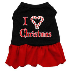 I Love Christmas Dog Dress - Black with Red-Medium