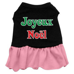 Joyeux Noel Dog Dress - Black with Pink-Large