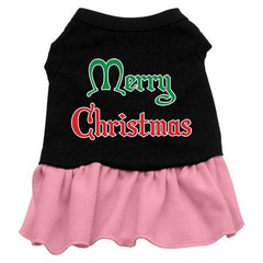 Merry Christmas Dog Dress - Black with Pink-Small
