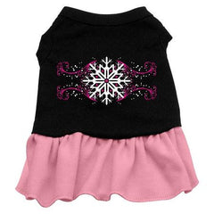 Pink Snowflake Dog Dress - Black with Pink-Small