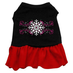 Pink Snowflake Dog Dress - Black with Red-Small