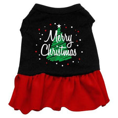 Scribble Merry Christmas Dog Dress - Black with Red-Extra Large