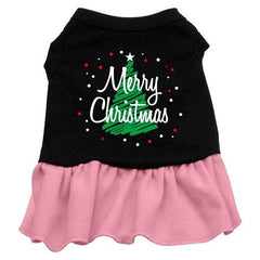 Scribble Merry Christmas Dog Dress - Black with Pink-Extra Small