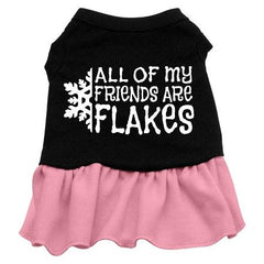 All my friends are Flakes Dog Dress - Black with Pink-Extra Small