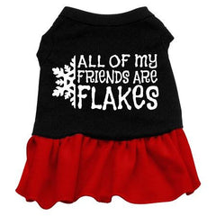 All my friends are Flakes Dog Dress - Black with Red-XXX Large