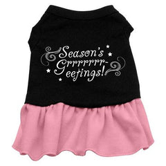 Seasons Greetings Dog Dress - Black with Pink-Large