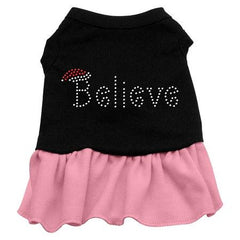 Believe Rhinestone Dog Dress - Black with Pink-Extra Small